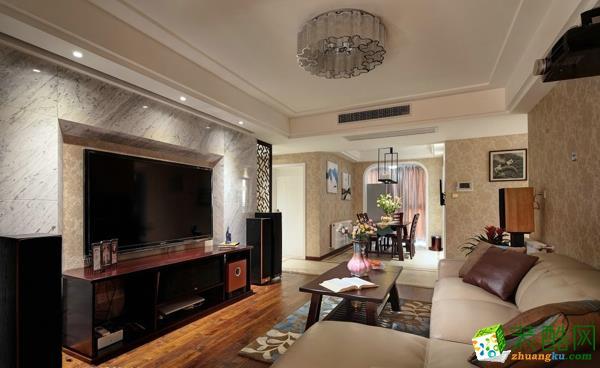 武汉135�O三室两厅装修―盘龙理想城美式风格作品