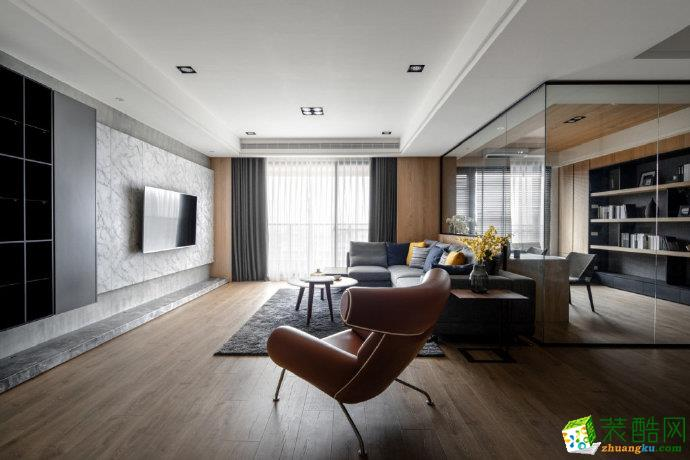 重庆 保利江上明珠120平米现代风格三室两厅一厨一卫案例装修效果图赏析-佳天下装饰