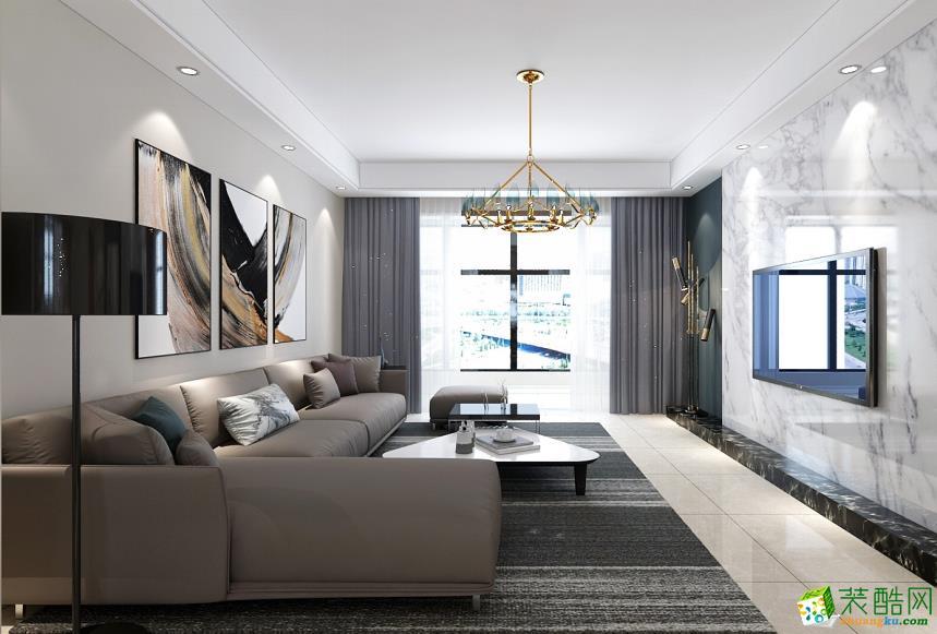 广州  万科新里程90平米现代风格三室两厅一厨一卫案例装修效果图-中庭装饰