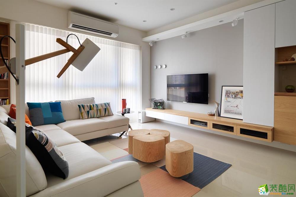 客厅电视背景墙 天津80㎡三室一厅北欧风格装修设计效果图