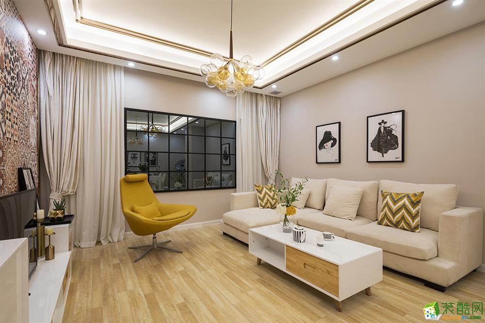 重庆120�O现代风格三室两厅一厨一卫案例装修效果图-唐卡装饰