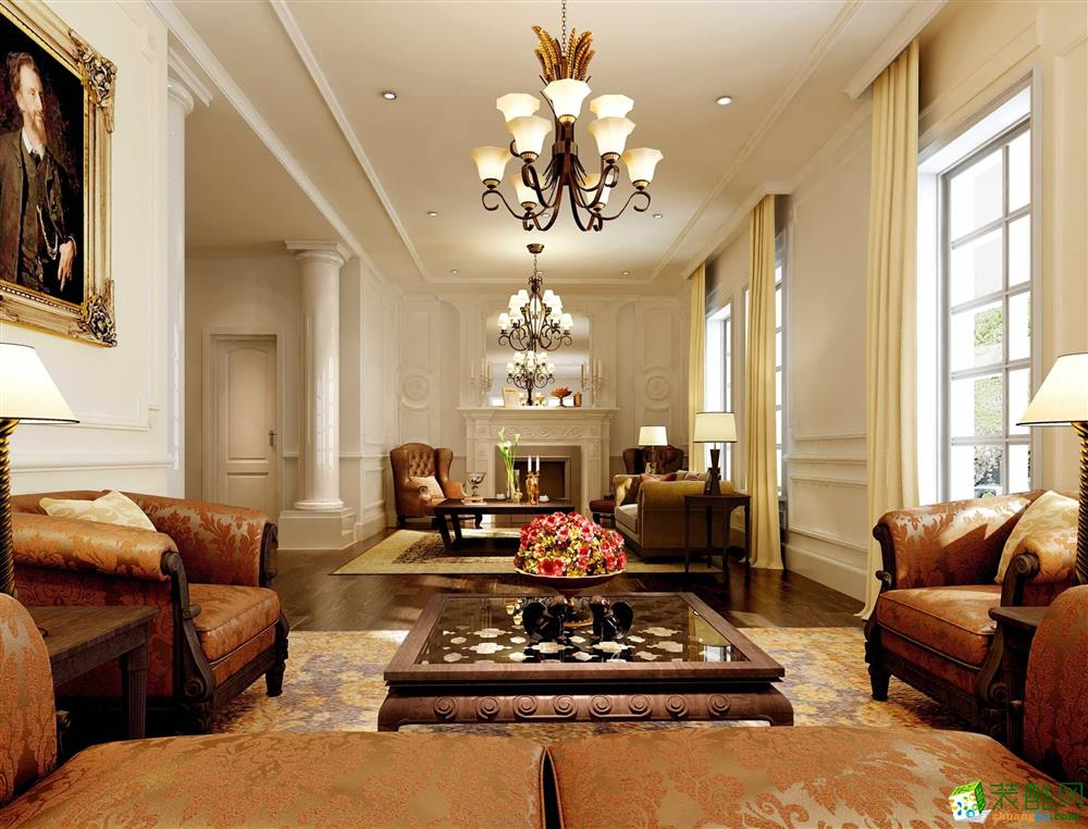 客厅 欧式三居室125平米装修效果图