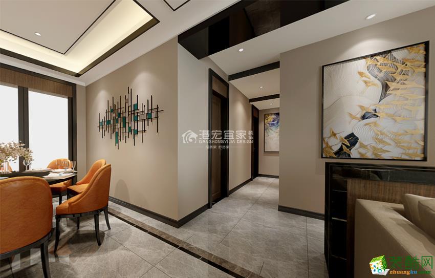青青佳苑115平米三室两厅一厨两卫案例装修效果图-港宏装饰