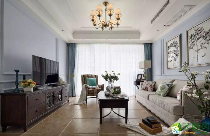 现代美式风格106平米三室两厅一厨一卫案例在效果图-卓坊