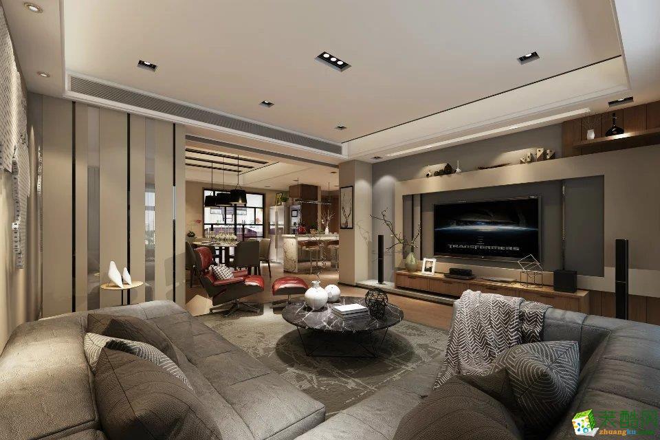 保利花半里120�O现代风格三室两厅案例装修效果图-金蜜蜂