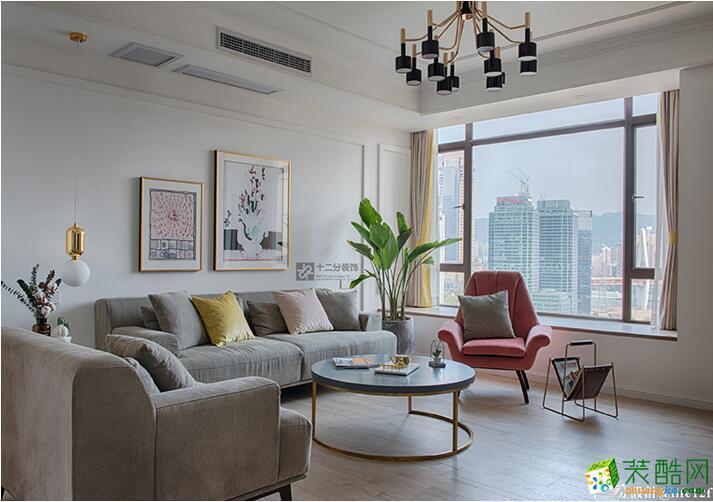 珠江太阳城120平米北欧风格三室两厅一厨两卫案例装修效果图