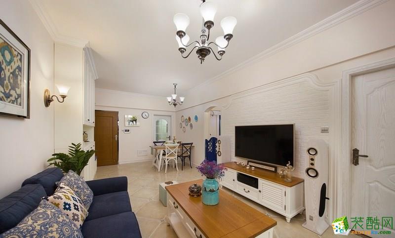 联发瞰青75平米美式风格两室两厅一厨一卫案例装修效果图
