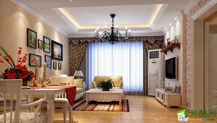 华宇城120平米田园风格三室两厅一厨一卫案例装修效果图-宏韵