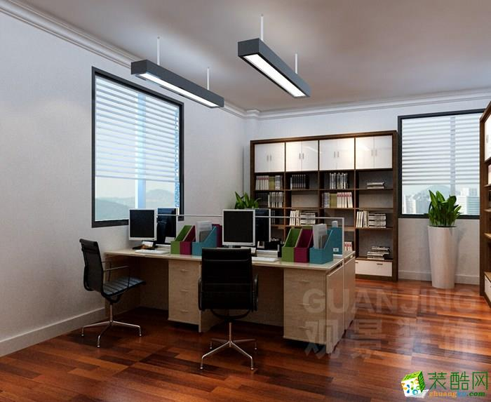 重庆办公室装修-300平米现代风格装修案例效果图-观景装饰
