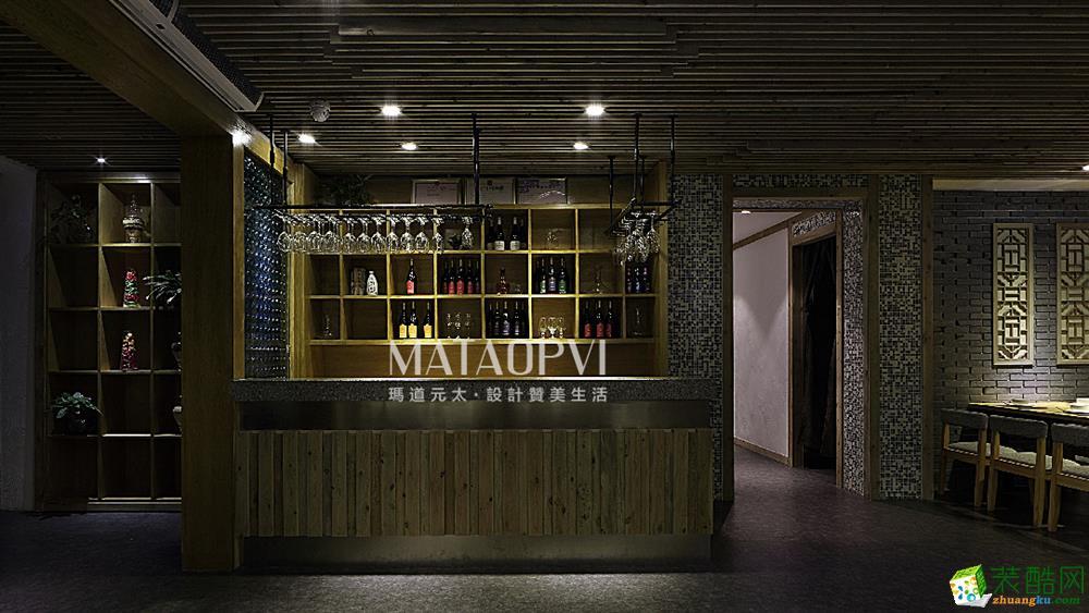 重庆餐厅装修-350平米新中式风格餐厅装修效果图-玛道装饰