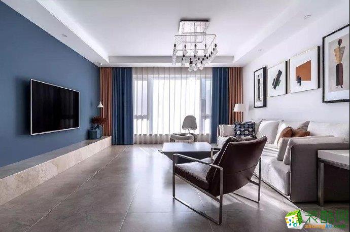 重慶 110平米經典藍·雅致通透現代風格三室兩廳一廚一衛案例裝修效果圖-佳天下裝飾