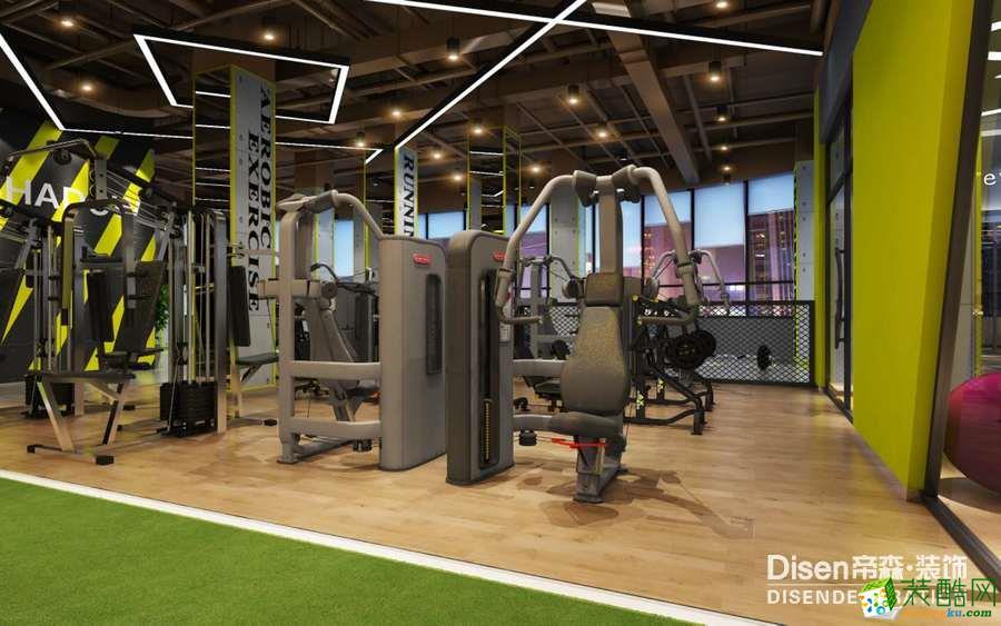 石家庄健身房装修-帝森装饰300�O光猪圈智能健身房效果图