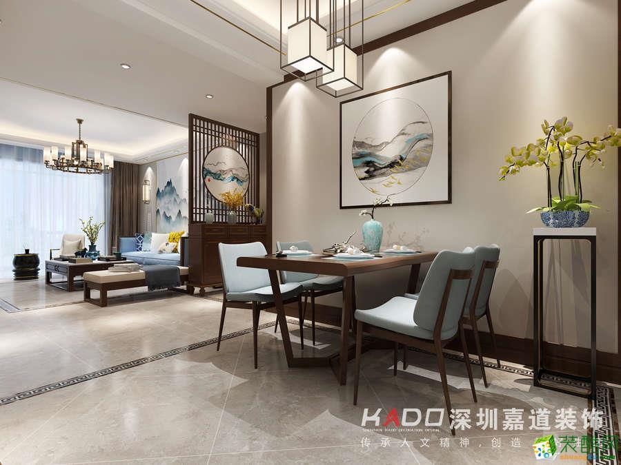 >> 郑州三室一厅一卫装修—嘉道装饰远征花园96平新中式风格装修效果