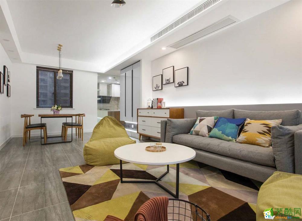 成都 鷺湖宮110平米北歐風格三室兩廳一廚兩衛案例裝修效果圖-眾意裝飾