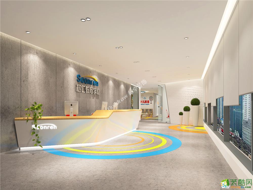 成都培训学校装修-1800平米大型工装案例装修效果图