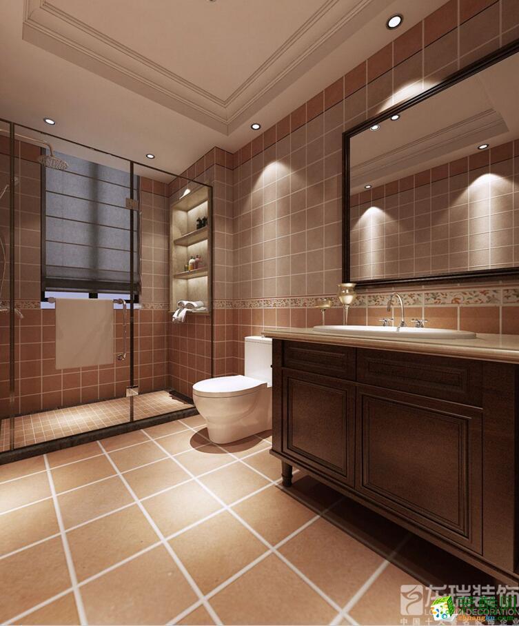 郑州三室两厅两卫户型图装修—龙瑞装饰瀚海晴宇145平美式风格设计效果图