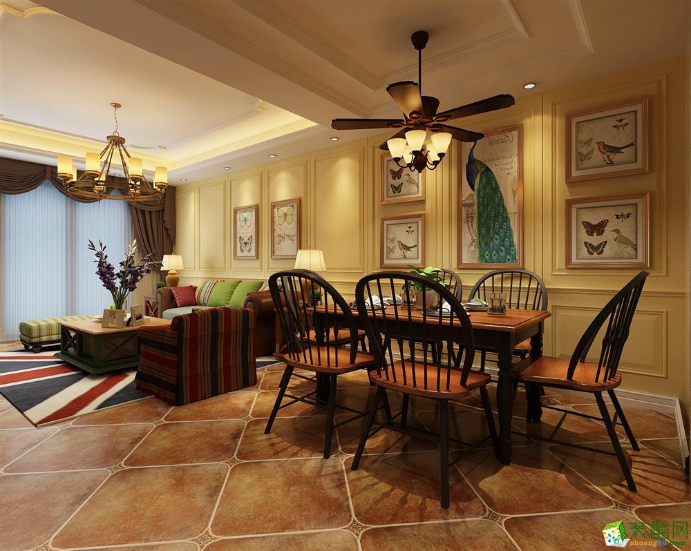 三室一厅一卫户型图装修—龙瑞装饰国瑞城110平美式风格装修设计效果.