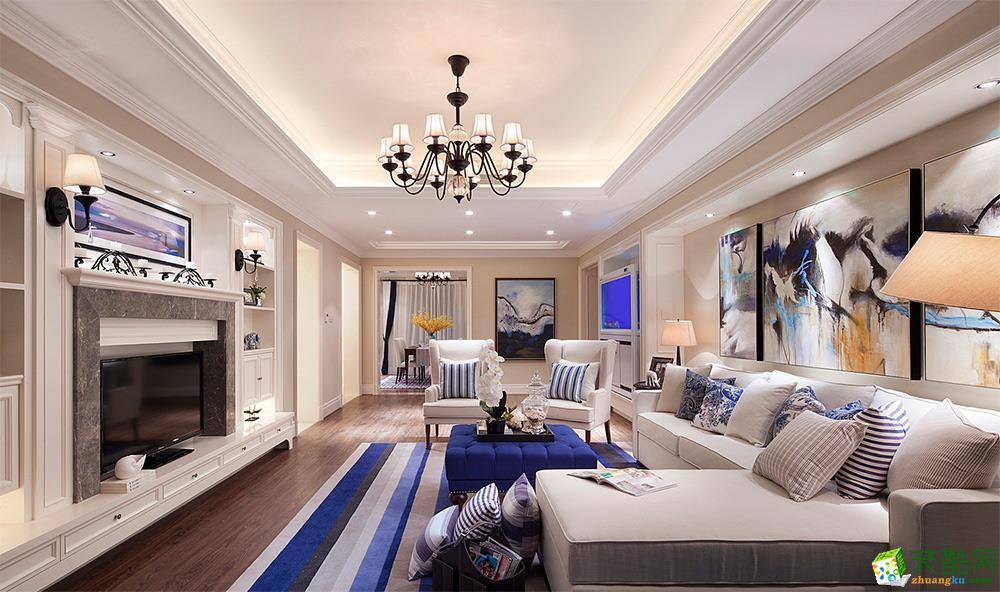 重庆三室一厅装修-80平米美式风格案例效果图-天地和装饰