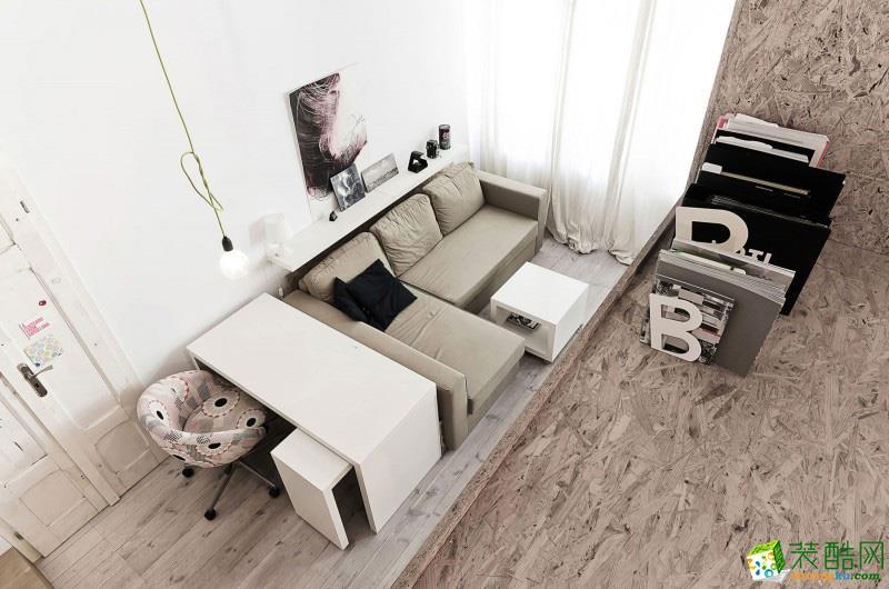 重庆一居室装修-42平米现代简约风格装修效果图-雪瑞装饰