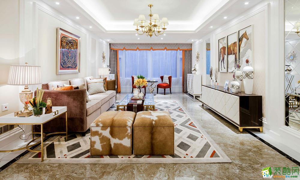 重庆三室两厅装修-96平米新中式风格装修效果图-华浔品味装饰