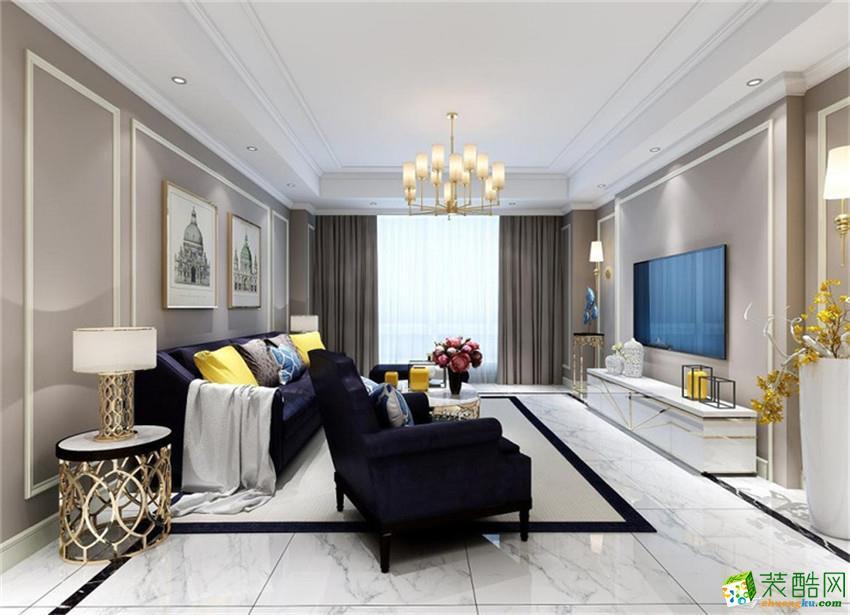 成都三室两厅装修-金地天府城108平米美式装修效果图-百合居