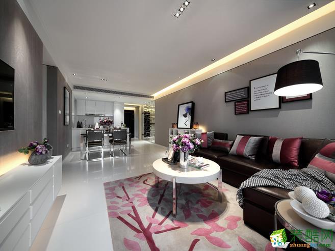武汉100�O3室2厅2卫装修―新城�Z悦城黑白灰风格装修效果图