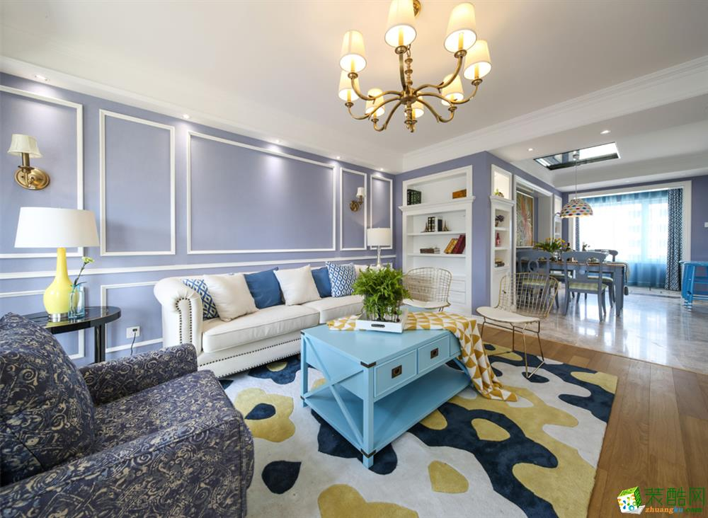 成都四室兩廳裝修-鷺浮宮150平米美式風格裝修效果圖-眾意裝飾