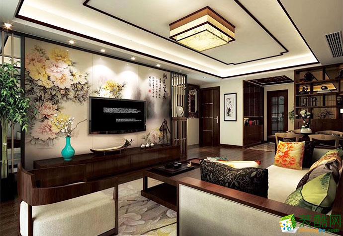 浦东新区康桥半岛花园350�O别墅新中式风格装修效果图-聚通