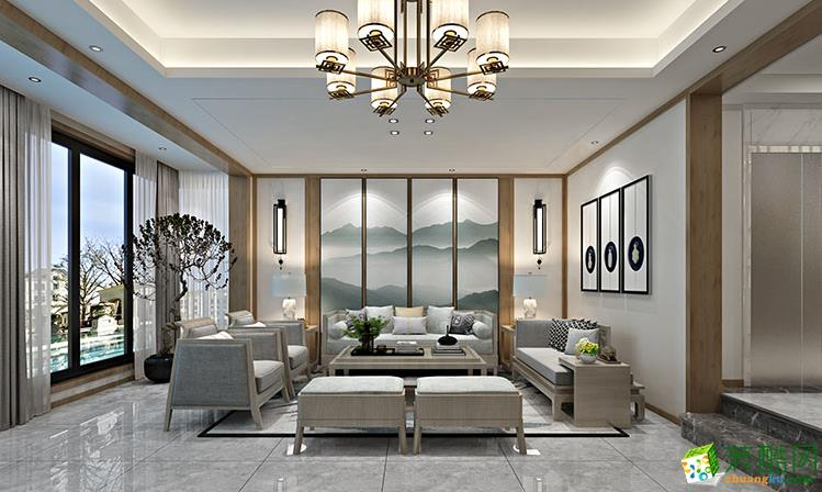 【华浔品味装饰】300平米新中式风格别墅装修设计案例