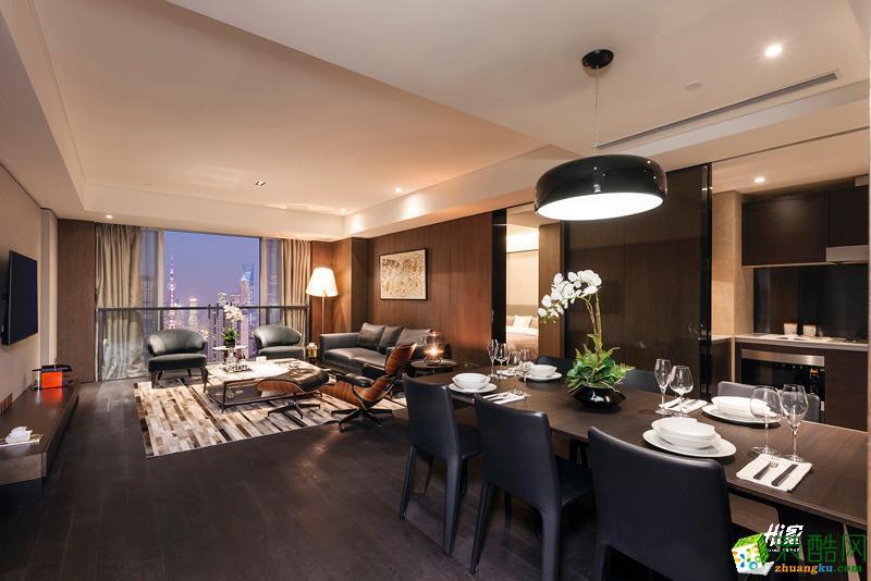 客厅  武汉120㎡3室2厅1卫装修—嘉禾现代港式风格设计效果图