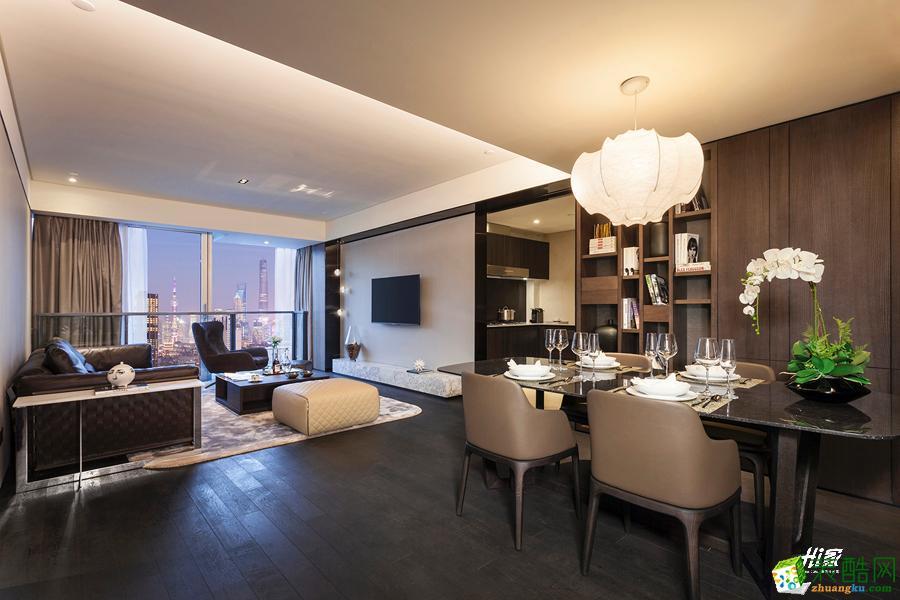 餐厅  武汉120㎡3室2厅1卫装修—嘉禾现代港式风格设计效果图