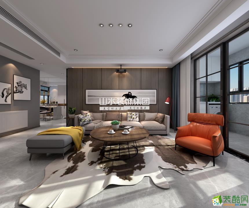 合肥蓝光雍锦半岛126�O三室两厅两卫现代风格装修设计效果图