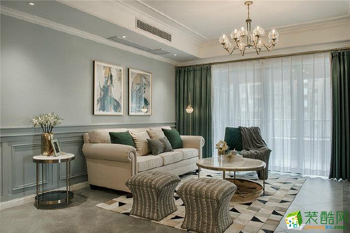 重慶三室兩廳裝修-95平米美式風格裝修效果圖-佳天下裝飾