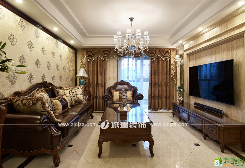 杭州尚景国际120�O三室两厅两卫新古典风格装修作品