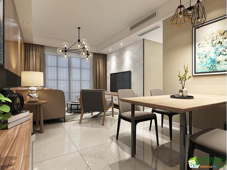 石家庄两室两厅两卫装修―华域城86平现代简约风格装修效果图