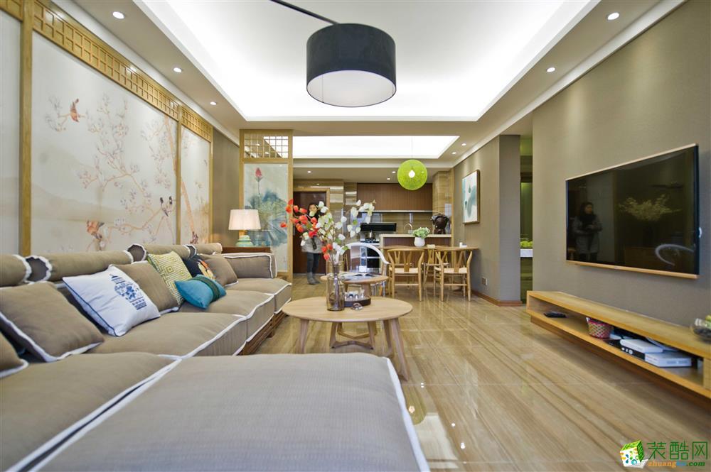重庆三室一厅装修-70平米新中式风格装修效果图-唐卡装饰
