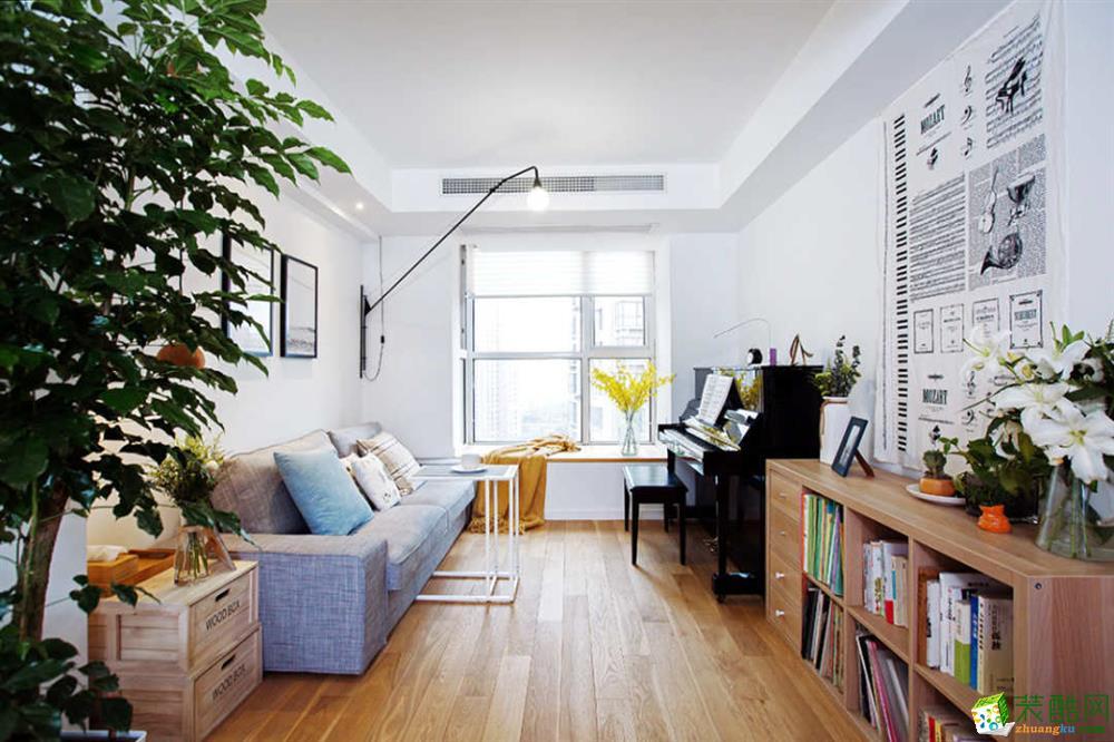 重庆两室两厅装修-一米阳光80平米日式风格装修效果图-佳天下装饰