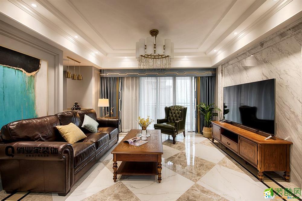 重庆四室两厅装修-美式风格136平米装修效果图-俏业家