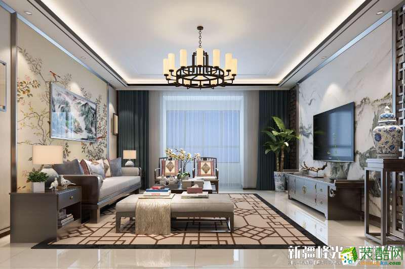 客厅 乌鲁木齐四室两厅装修-朝阳雅居169平米新中式风格装修效果图