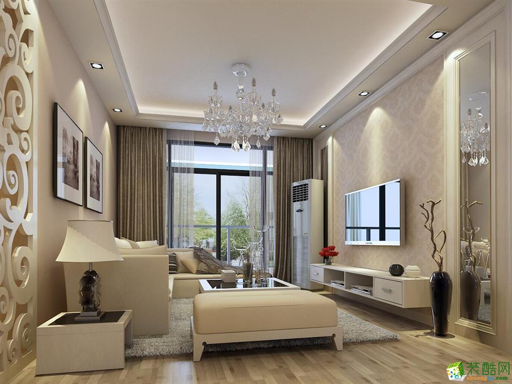 >> 桂林三室一厅一卫装修—龙头装饰110平简欧风格装修效果图