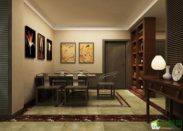 123平米三居室新中式风格装修效果图