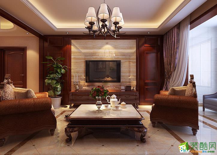 >> 140平米三室一厅欧式风格装修效果图