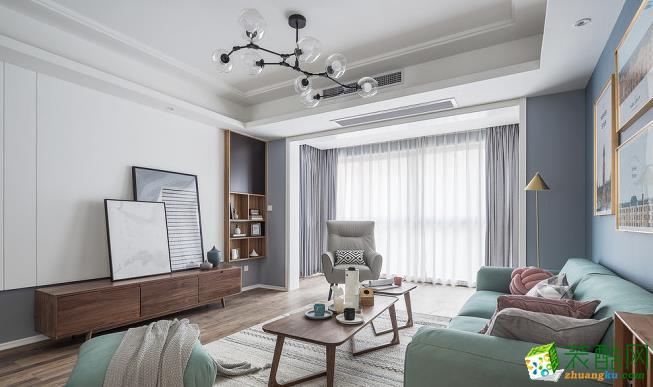 【大美装饰】130平三室两厅装修 北欧风格装修效果图