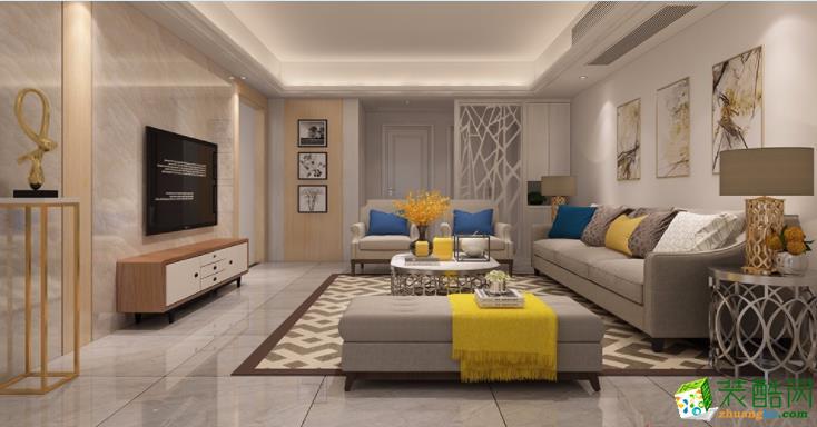 122平米三居室现代风格装修效果图
