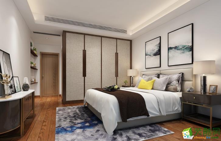 124平米三居室新中式风格装修效果图