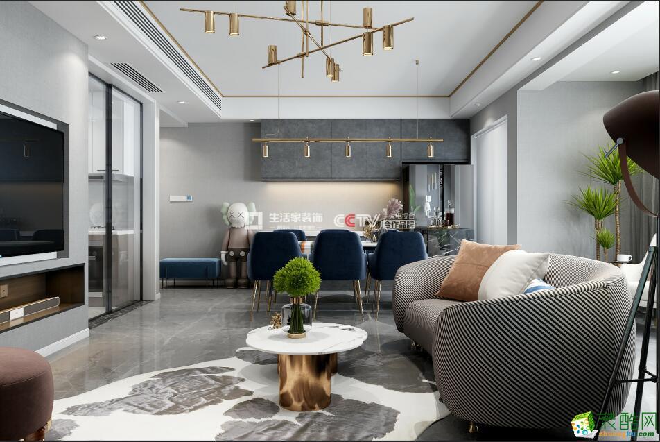 成都三室两厅装修-锦巷兰台118平米现代风格装修效果图-生活家装饰