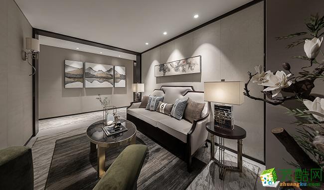 十堰万达华府90平三室一厅新中式风格装修效果图