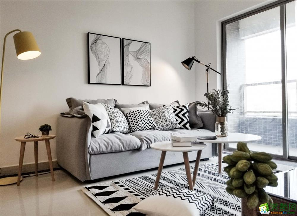 成都三室两厅装修-中铁骑士府邸95平米北欧风格装修效果图-众意装饰