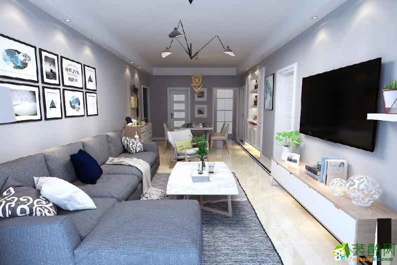 昆明88�O两室装修 金山小区小清新风格装修效果图