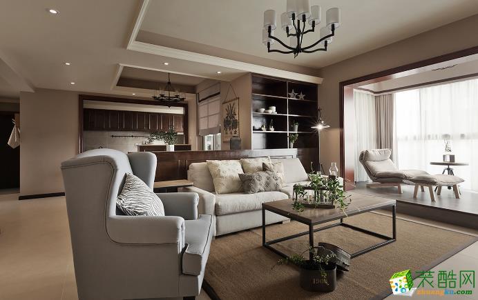 长沙东家乐装饰-130平米美式三居室装修案例